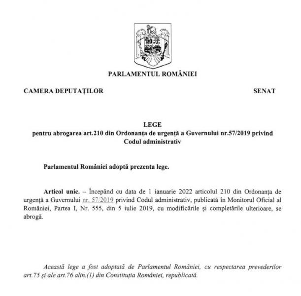 usr abrogare pensii speciale primari alesi locali Pl-x nr. 328/2021