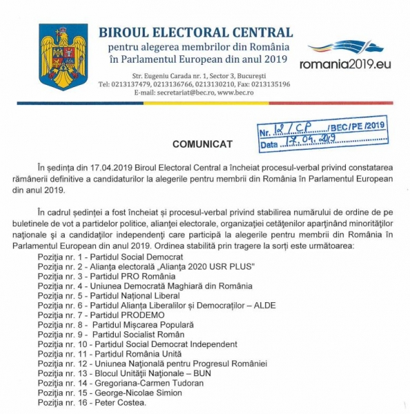 pozitie buletin vot europarlamentare
