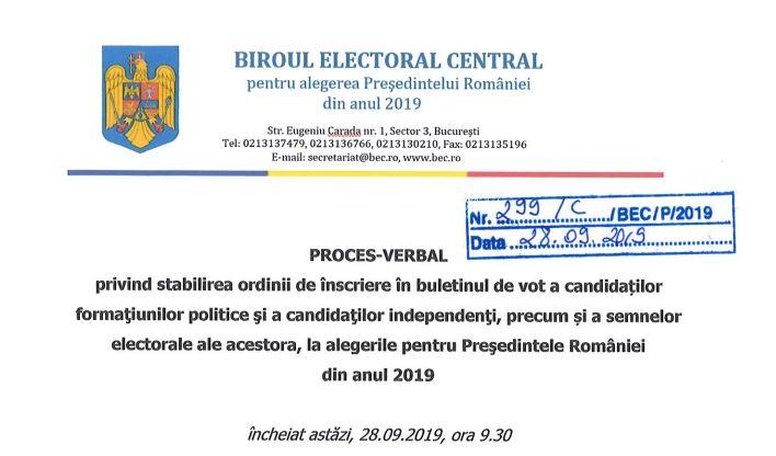 candidati alegeri prezidentiale 2019 ordine buletin vot