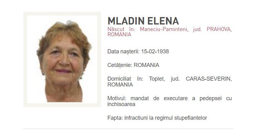 Mladin Elena, 82 de ani, data in urmarire generala
