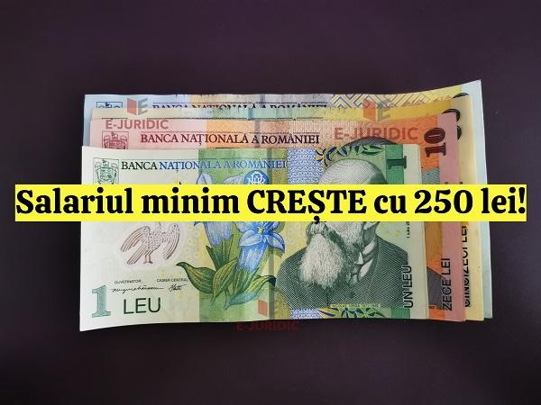 Salariul minim brut creste cu 250 de lei