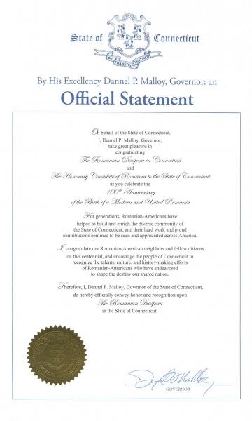 scrisoare guvernator connecticut