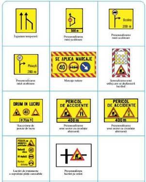 Indicatoare de atentionare pentru sectiuni de drum in lucru: pericol de accidente