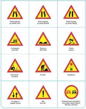 Indicatoare de atentionare pentru sectiuni de drum in lucru