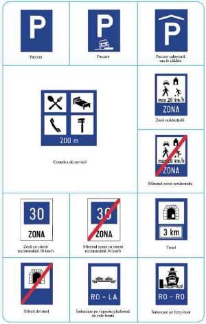 Indicatoare rutiere de semnalizare locale: camping, parcare,  intrare in tunel