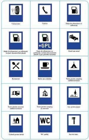 Indicatoare rutiere de semnalizarea a diferitlor obiective din apropiere: restaurant,  hotel, service, benzinarie, camping,