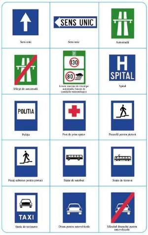 Indicatoare rutiere de atentionare: sens unic, spital, statie de autobuz, troleibuz, statie taxi, intrarea pe autostrada, pasaj subteran, politia