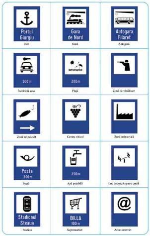 Indicatoare rutiere de semnalizare: autogara, port, gara, posta, apa potabila, supermarket