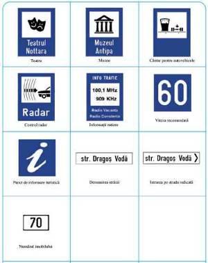 Indicatoare rutiere de semnalizare: teatru, muzeu, radar