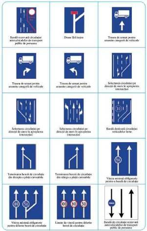 Semne de circulatie pentru selectarea directiei de mers in apropierea intersectiilor