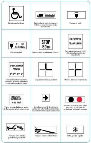 placute aditionale pentru indicatoare rutiere de semnalizarea: tonaj maxim, drum cu prioritate, drumuri cu caderi frecvente de zapada, ridicarea masinilor parcare ilegal