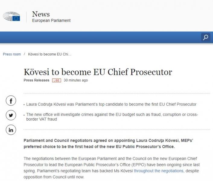 oficial kovesi procuror sef parchet european