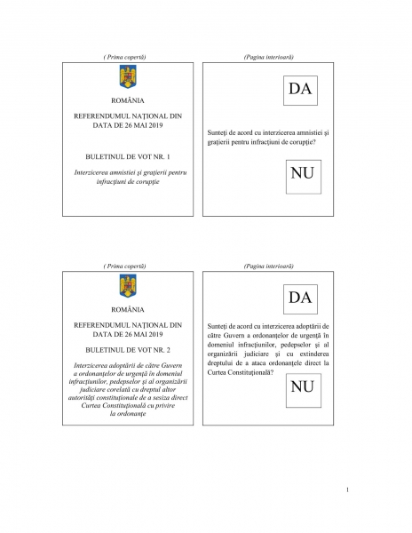 model buletin vot referendum justitie 2019