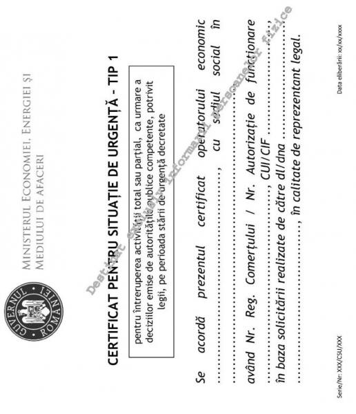 certificat situatie urgenta albastru tip 1