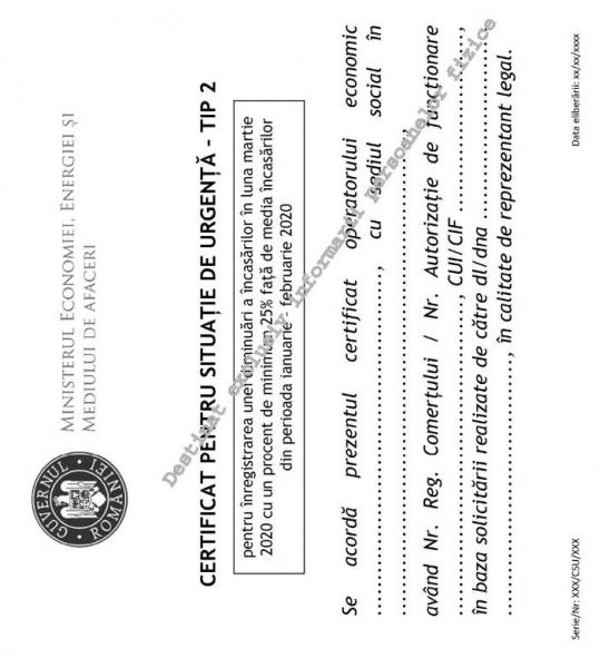certificat situatie urgenta tip 2 galben