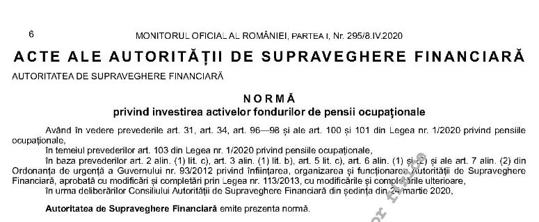 norma investitii pensii ocupationale
