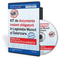 Documente obligatorii din  Legislatia Muncii si Salarizare