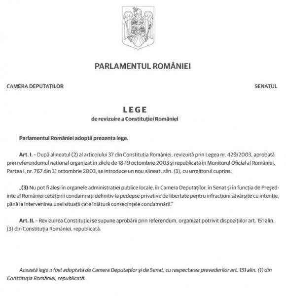 proiect revizuire constitutie penali functii publice