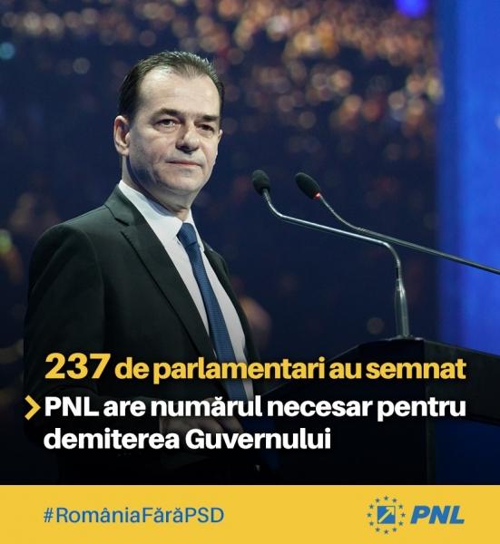 237 semnaturi motiune de cenzura pnl dancila